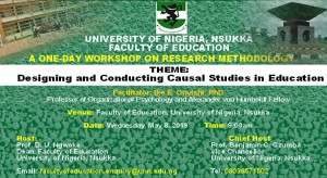 Faculty of Education: A ONE-DAY WORKSHOP ON RESEARCH METHODOLOGY